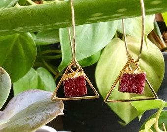 Ruby Druzy Geo Hoop Earrings