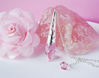 Pink Crystal Pendulum, Single Point Crystal Metaphysical Magic Wand, Dowsing Pendulum, Divining Pendulum