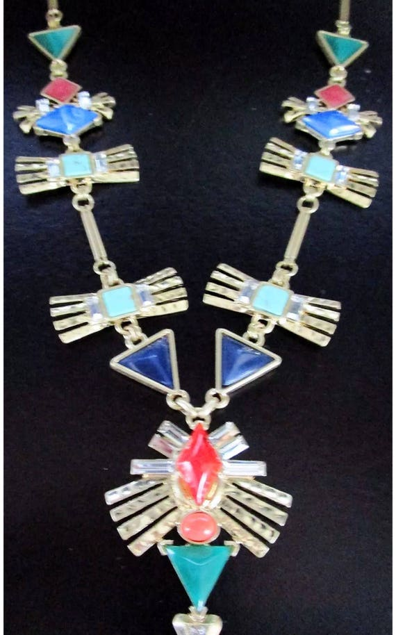 Colorful New Wave Modernist Futuristic Bold Bling Statement Necklace so 80's 90's Runway MTV style
