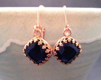 Glass Stone Earrings, Deep Blue Gems, Rose Gold Dangle Earrings, FREE Shipping U.S.