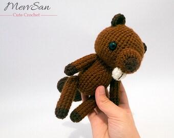 MADE to ORDER - Amigurumi Woodland Critter Beaver - crochet animal plush, amigurumi beaver toy, beaver plush, crochet beaver doll