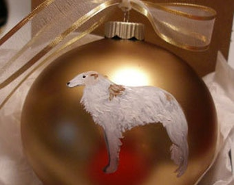 Borzoi Russian Wolfhound Dog Hand Painted Christmas Ornament - Can Be Personalized with Name