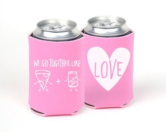 We Go Together Like Pizza & Beer Can Cooler - Valentine's Day Party - V-Day Printed Can Cooler