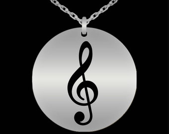 Valentine's Gift For Musician, Music Lover, Her - Music Necklace - Music Note Treble Clef Engraved Stainless Steel Necklace - Music Jewelry