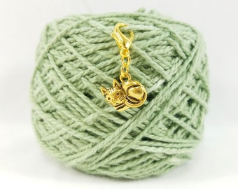 Gold Kitty Cat Lobster Clasp Stitch Marker, Progress Keeper, Zipper Pull, Stitch Keeper, Dangle Charm