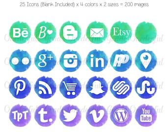 Watercolor Social Media Icons, Social Media Buttons, Social Network Icons, Website Icons, Blog Buttons,  Web Design