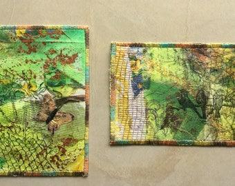 Set of 2 handmade unique postcards