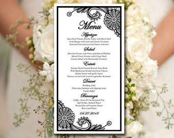"Lace Wedding Menu Card Template - Black Menu Template Download ""Luna Lace"" Wedding Reception Menu Download - Entree Card - Wedding Dinner"