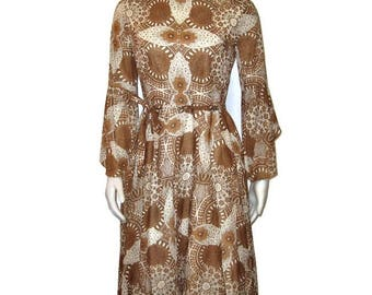 60s Cotton Print, Flared Skirt,  Belted Dress, Flared Sleeves, Cotton Dress, 1960s Long Sleeve Dress, Brown White Dress, Made in Britain
