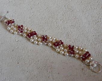 """Wave"" BRACELET in pearls and SWAROVSKI Crystal"
