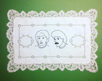 Hall and Oates - hand embroidered vintage doily, lace edge, placemat
