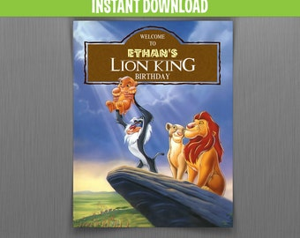 The Lion King Birthday Welcome Sign - Instant Download and Edit with Adobe Reader