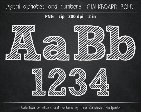 Chalkboard Alphabet Bold Clip Art Chalk Letters Numbers
