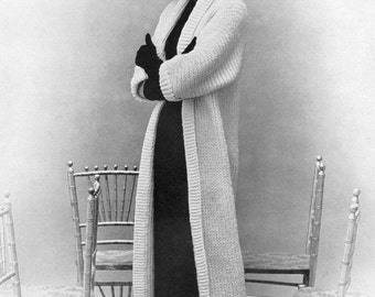 KNITTING PATTERN Vintage 1950s Tuxedo Tube Sweater Coat Instant Download PDF