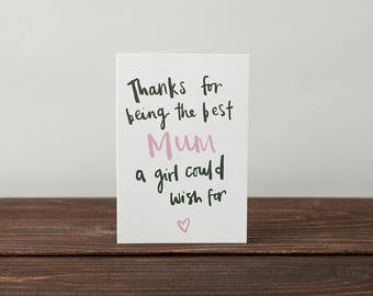 Mothers Day Card - Greeting Card, Illustrated Card, Typography Card
