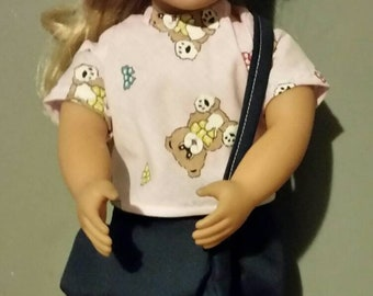 18 inch doll clothes shoulder bag,  flare jeans, hat, shirt, fits dolls like the American Girl doll four piece set for one low price