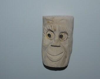 Hand Carved Wooden Fridge Magnet Sly