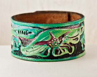 Wrist Cuff Leather Cuff Bracelet Made From Vintage Belt