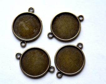 10 connectors round cabochon 18 mm antique bronze