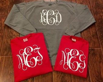 Comfort Color Sweatshirt w/ LARGE Monogram