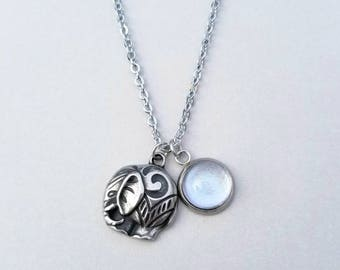 Elephant charm - Stainless Steel Necklace - Color Shifting Stone