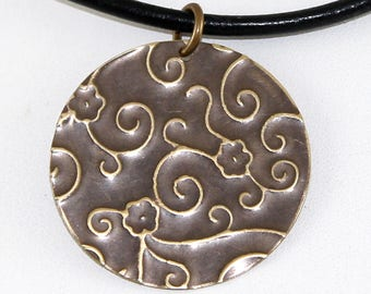 Antique Brass Etched Brass Pendant on Leather - Daisy Swirl Texture