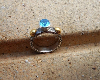 Ancient Style 24k Pure Gold  Handmade Hammered Sterling Silver Oval Faceted Bright Swiss Blue Topaz RING  Size 7.5US November Birthstone
