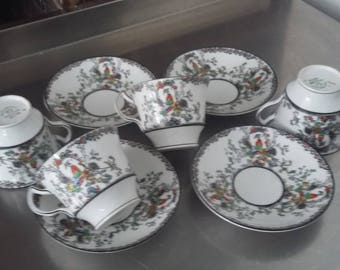 4 Vintage Melba Bone China Oriental Garden Chintz Side Sandwich Cups and Saucers