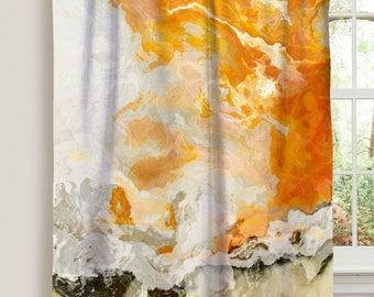 "Abstract art window curtain in cream and orange, 50""x84"" blackout drapery panel, contemporary rod pocket curtain, Rhymes with Orange"