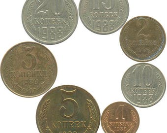 Set of Soviet circulated coins (1988)