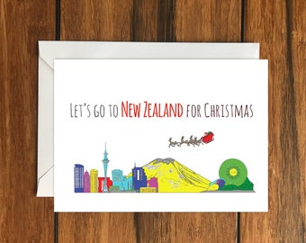 Let's go to New Zealand for Christmas One Original Blank Greeting Card A6 and Envelope