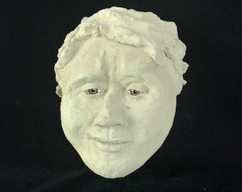 What Do I Do - Original Concrete Sculpture | Hand Sculpted Garden Face | Rock Garden Art | Durable Outdoor Decor