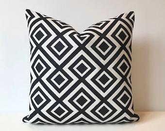 Black and white modern geometric trellis decorative pillow cover