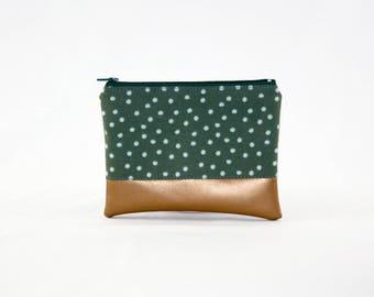 MIDI bag - copper green dots, bag, cosmetic bag, purse, make-up bag, vegan, minimalist, pouch, pencil case,