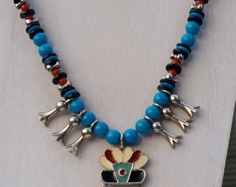 Art (ModeArt) Squash Bottom Faux Turquoise and Enamel Pendant 21 Inch Necklace - Vintage and Signed, Made in 1960s