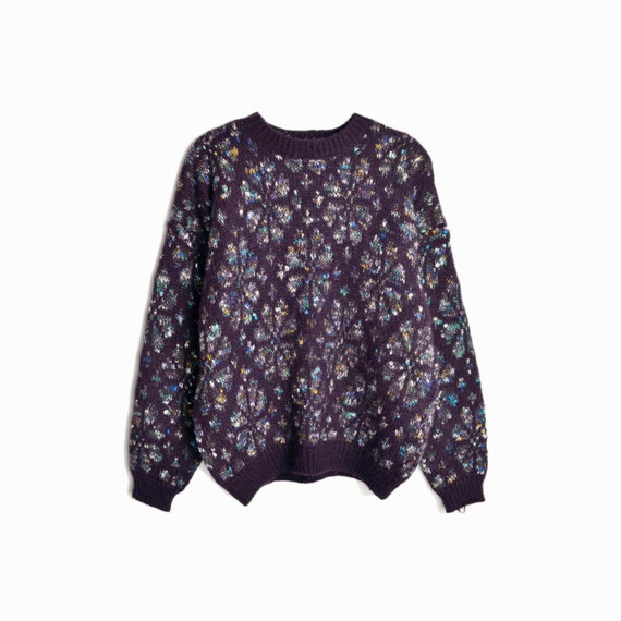 Vintage Cozy Purple Boyfriend Sweater / Slouchy Sweater / Campfire Sweater - size medium