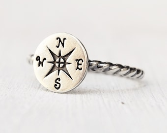 sterling silver compass rose ring - windrose - rose of the winds - nautical jewelry - ethical silver  - gift for her - Wanderlust - Traveler