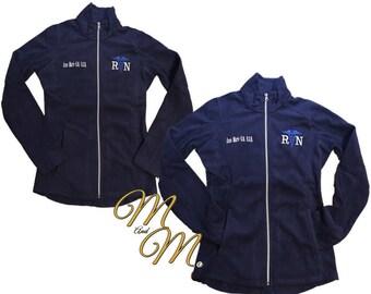 Monogram Nurse Jacket - Black Fleece Jacket - Ladies Fleece - Plus Size  Jacket - RN