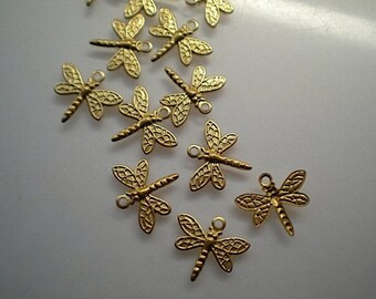 12 tiny dragonfly charms