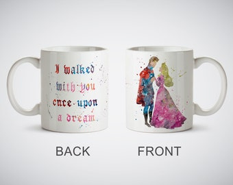 Princess Aurora and Prince Phillip Sleeping Beauty Magic or White Mug Watercolor Art Print cup Coffe Tea Cup Kitchen Decor Mug picture