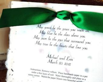 Irish Blessing / Wedding Party Favor / Eco Friendly / Plantable Poem
