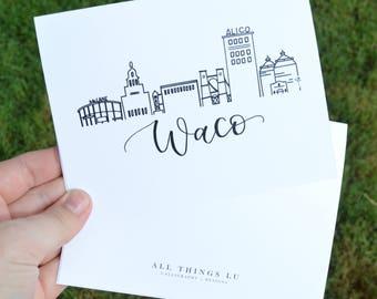 Set of 8 Notecards | Boxed Notecards | Waco Cityscape | Thank You Notes | Waco Texas Skyline