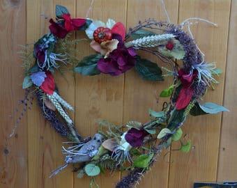 Twig Heart Wood Wreath decoration.Christmas.Autumn.Hessian bird.moss.berries.Red hydrangea foliage leaves Wheat grass willow