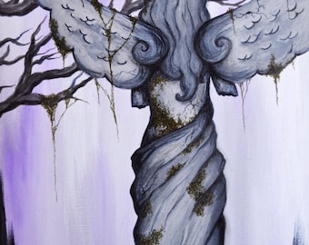 Print of Cemetery Angel acrylic painting/mixed media 8x10