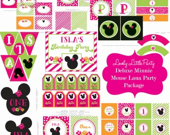 Printable Deluxe Minnie Mouse Luau  Birthday Package - LOVELY LITTLE PARTY