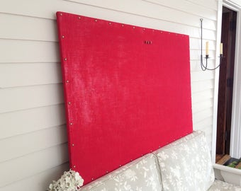 """Huge X-Large Burlap MAGNETIC Bulletin Board - 34 x 52"""" Red Rustic with Hardwood Construction, Brass Upholstery Tacks Button Magnet"""