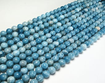 "8mm Blue Larimar Beads Round Polished Natural Gemstone Loose 15.5"" Full Strand"