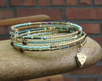 Spiral bracelet wrap bracelet memory wire turquoise, gold, petrol