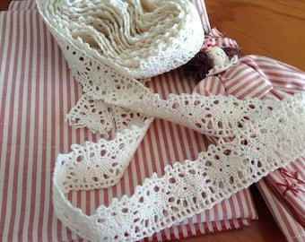 Vintage Cream Cotton Cluny Lace - 3.5 metre length