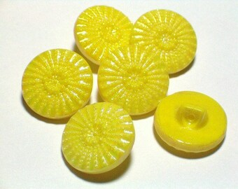 6 Vintage Yellow Glass Buttons Aurora Borelis Lustre Fab Buttons 19mm Set Sewing Buttons